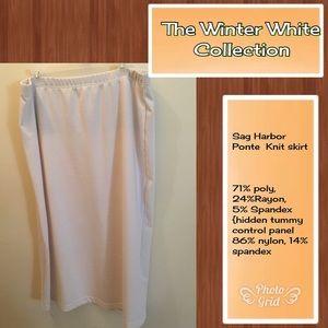 XL Ecru Ponte Knit long column skirt by Sag Harbor